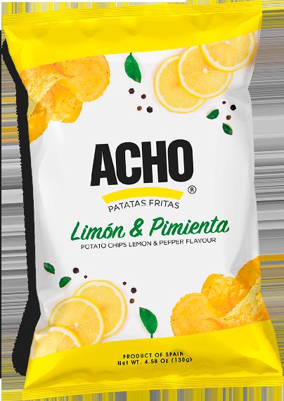 bolsa de patatas fritas limón y pimienta acho